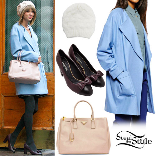 Taylor Swift: Blue Coat, Bow Pumps