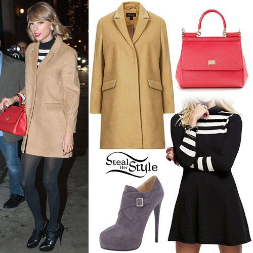 Taylor Swift: Camel Coat, Stripe Dress