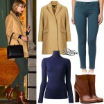Taylor Swift: Camel Coat, Teal Jeans