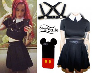 Ash Costello: Collared Crop Top, Pleated Skirt