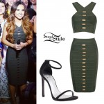 Becky G: Olive Green Bandage Top & Skirt