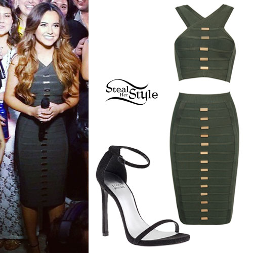 Becky G: Olive Green Bandage Top & Skirt