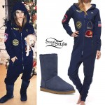 Becky G: Military Patch Jumpsuit, Navy Boots