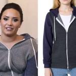Demi Lovato: Gray & Blue Colorblock Hoodie