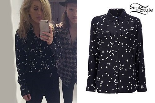 Ellie Goulding: Star Print Button-Up Shirt