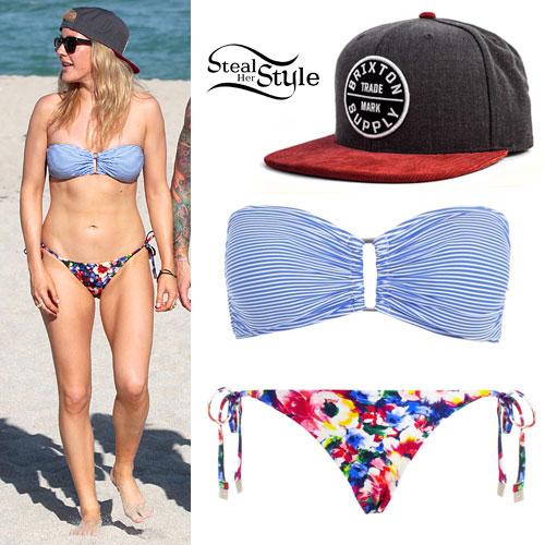 Ellie Goulding: Stripe & Floral Bikini