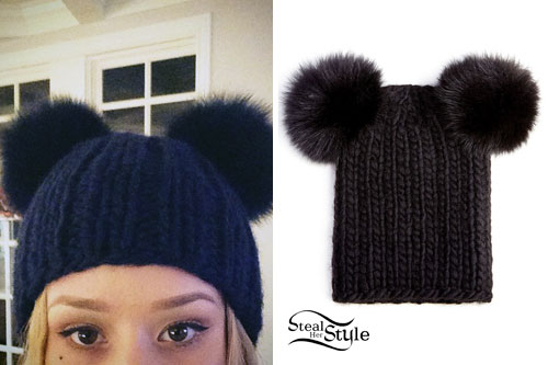 Iggy Azalea: Black Fur Ears Beanie