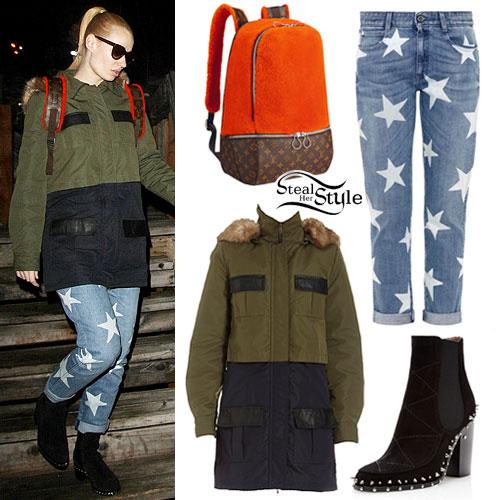 Iggy Azalea: Olive Parka, Star Print Jeans