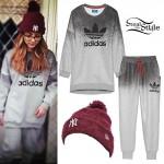 Jade Thirlwall: Yankees Beanie, Adidas Sweats