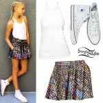 Jordyn Jones: Emoji Print Skirt Outfit