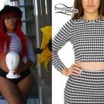 K. Michelle: Black & White Long Sleeve Crop Top