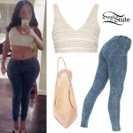 K. Michelle: Pearl Bralet, Denim Leggings