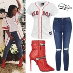 K. Michelle: Red Zipper Boots, Ripped Jeans