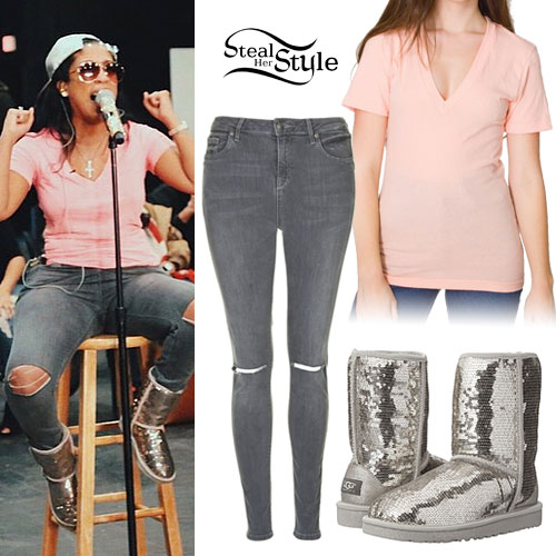 K. Michelle: Gray Jeans, Sequin UGG Boots