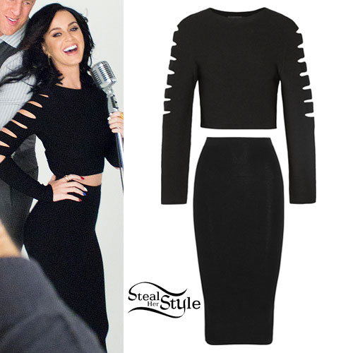 Katy Perry: Black Slashed Top & Skirt