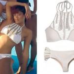 Keke Palmer: White Halter Crochet Bikini
