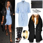 Leigh Anne Pinnock: Denim Shirtdress, Wool Coat