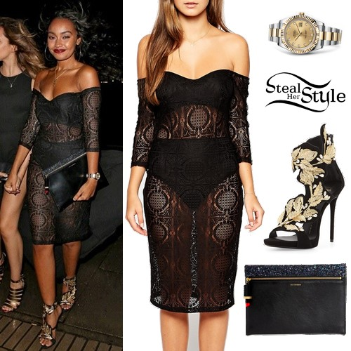 Leigh Anne Pinnock Lace Dress Leaf Sandals Steal Her Style