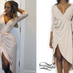 Niykee Heaton: Beige Wrap Dress