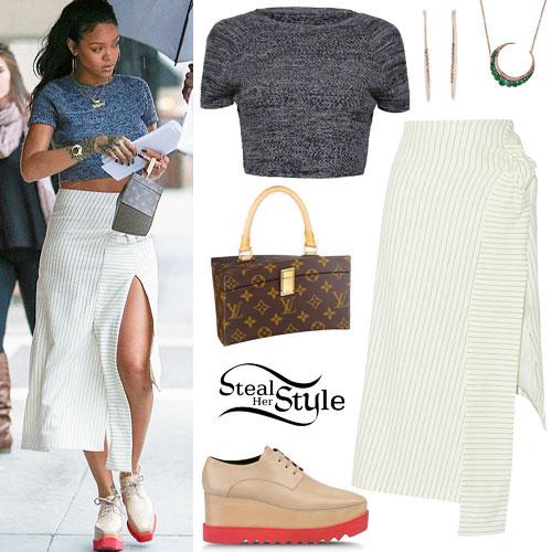 Rihanna: Knit Crop Top, Pinstriped Skirt