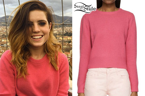 Sydney Sierota: Pink Cable Knit Sweater