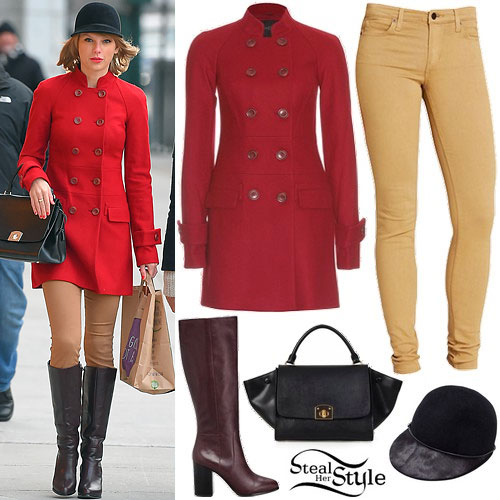 Taylor Swift: Raglan Coat, Caramel Jeans