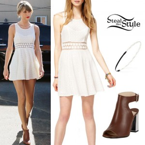 Taylor Swift: White Dress, Cut-Out Boots