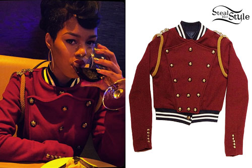 Teyana Taylor: Red Marching Band Jacket