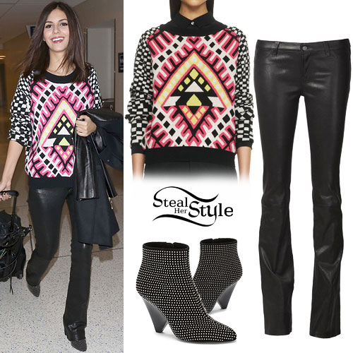 Victoria Justice: Printed Sweater, Studded Boots