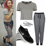 Zonnique Pullins: Heather Gray T-Shirt & Joggers