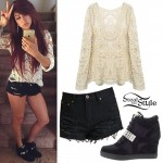 Allison Green: Crochet Top, Ripped Shorts