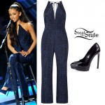 Ariana Grande: Printed Jumpsuit, Black Pumps