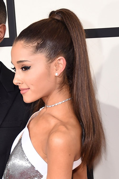 Ariana Grande Straight Dark Brown High Ponytail, Ponytail Hairstyle ...