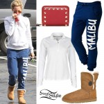 Ashley Tisdale: Malibu Sweatpants, Button Uggs
