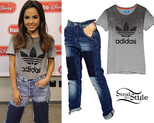 Becky G: Gray Adidas Tee, Patched Jeans