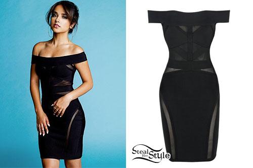 Becky G: Black Mesh-Panel Dress