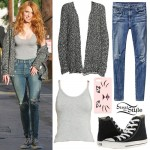 Bella Thorne: Speckled Cardigan, Ripped Jeans