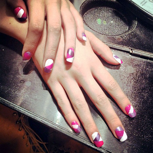 Bella Thorne Hot Pink, Purple, White Colorblock Nails ...
