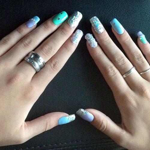 Bella Thorne Light Blue Mint Green Purple Silver