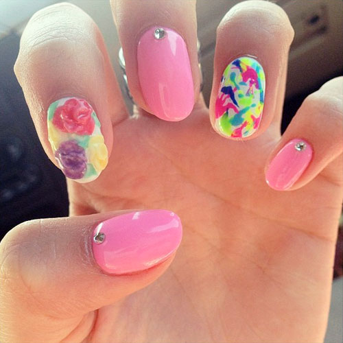 Bella Thorne Hot Pink Flowers Jewels Splatter Nails