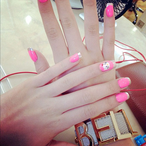 Bella Thorne Hot Pink, Silver French Tips, Hello Kitty ...