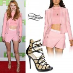 Bella Thorne: Pink Blazer & Wrap Shorts