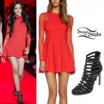 Camila Cabello: Red Dress, Strappy Booties