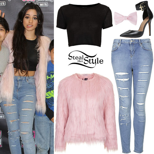 Camila cabello pink fur coat ripped jeans steal her style fifth harmony meet greet at 997 february 4th 2015 photo 5h m4hsunfo