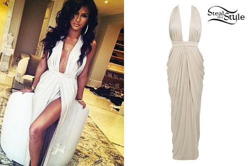 Cassie Ventura: Beige Plunge Gown