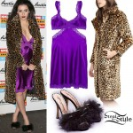 Charli XCX: Purple Silk Gown, Leopard Coat