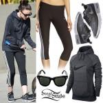 Cher Lloyd: Grey Nike Hoodie, Adidas Capris