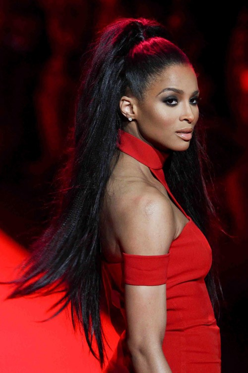 Ciara Straight Black Extensions, High Ponytail, Ponytail ...