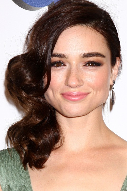 Crystal Reed Wavy Dark Brown Side Part Hairstyle Steal