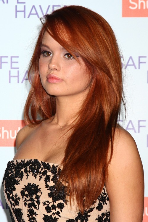 Debby Ryan Straight Ginger Faux Sidecut Long Layers Side